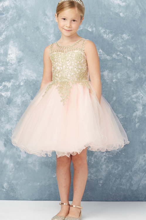 Tip Top Kids - Q70139 Short Pageant or Easter Dress with Gold Lace