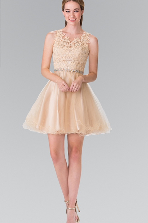 Elizabeth K - M23759 Lace Illusion Top A-Line Short Dress with Beaded Waist