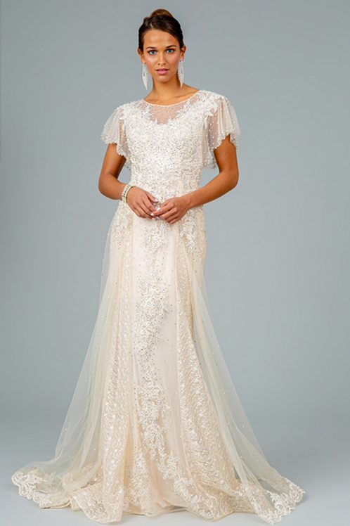 GLS - P28819 Lace and Mesh Layered Embroidered A-Line Long Dress