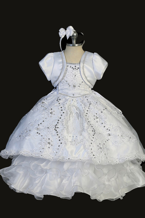 Tip Top Kids - D23529 Gorgeous 2-Piece Baptism Dress w/Sequins and Silver Lining