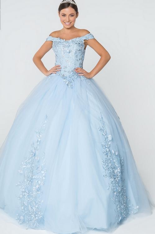 Elizabeth K - M28024 Floral Embroidery and Jewel Embelished V-neck Mesh Gown
