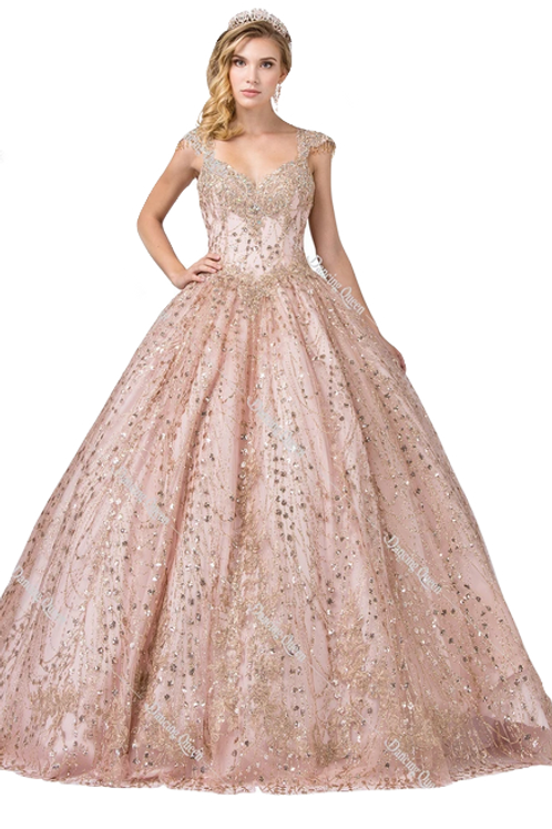 Dancing Queen - L13979 Sweetheart Bodice Gold Accented Ball Gown w/Bead Fringe
