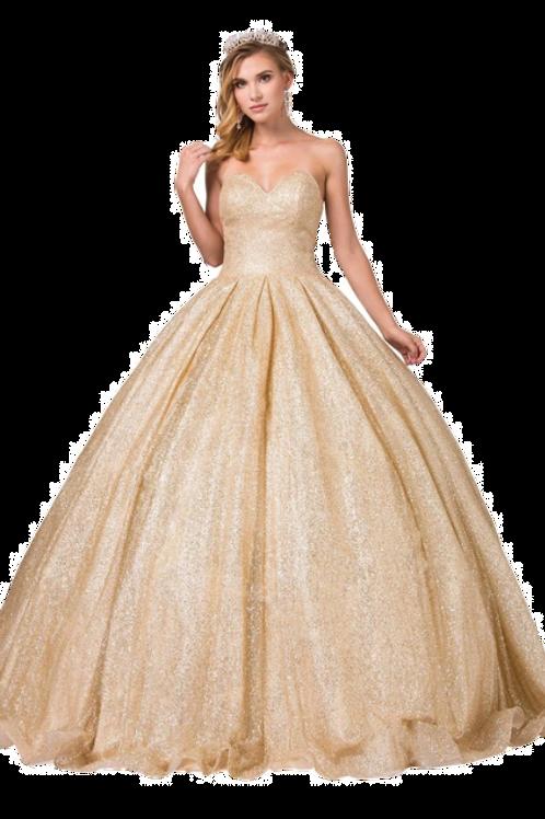 Dancing Queen - W13419 Strapless Sweetheart Bodice Glitter Ballgown