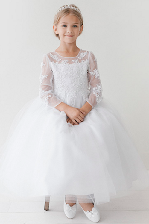 Tip Top Kids - R5705X9 Long Sleeve Illusion Neckline w/Lace Applique Tulle Skirt
