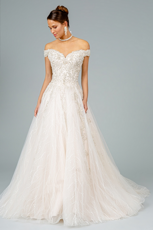 GLS - F18325 Multi-Layered Embroidered Mesh Cut-Away Shoulder Gown