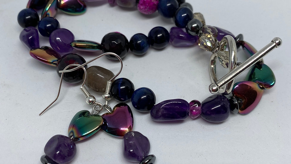 Amethyst Agate and Hematite Puff Heart - Mermaid Pink Necklace and Earring set