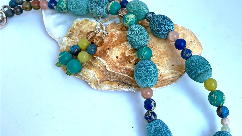 Colours of Jasper (sea inspired) Choker and Earring Set
