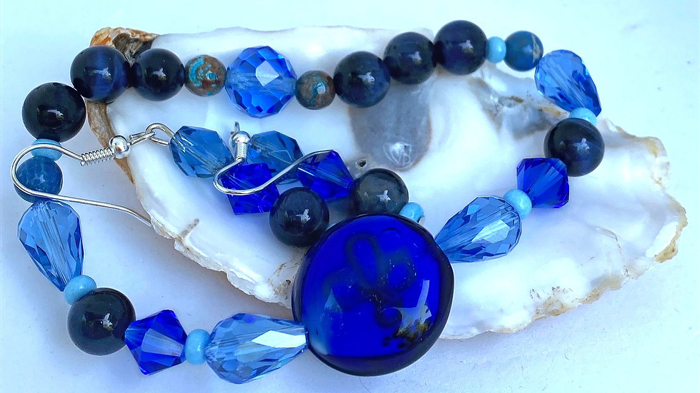 Deep and Wide Bracelet and Earring Set
