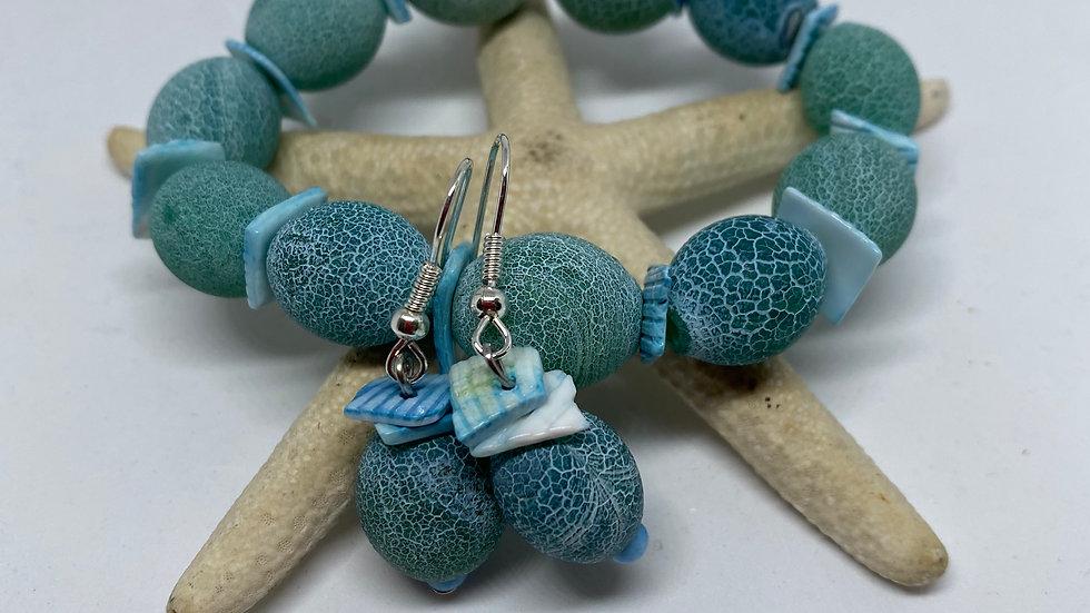 Fire Agate Oval Bead Bracelet and Earring set