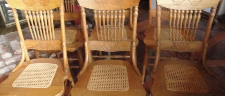 Oak Pressed  back chairs