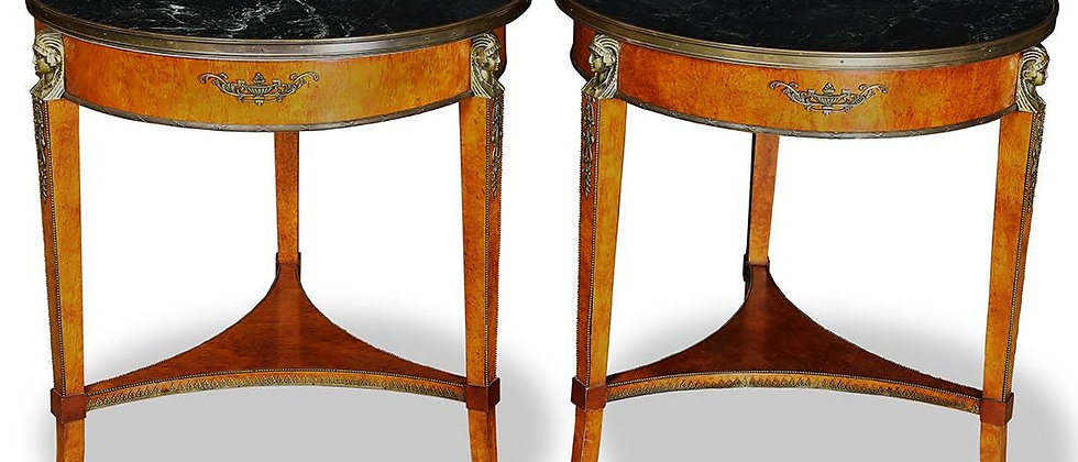 Pair of French Empire style gueridons, side tables