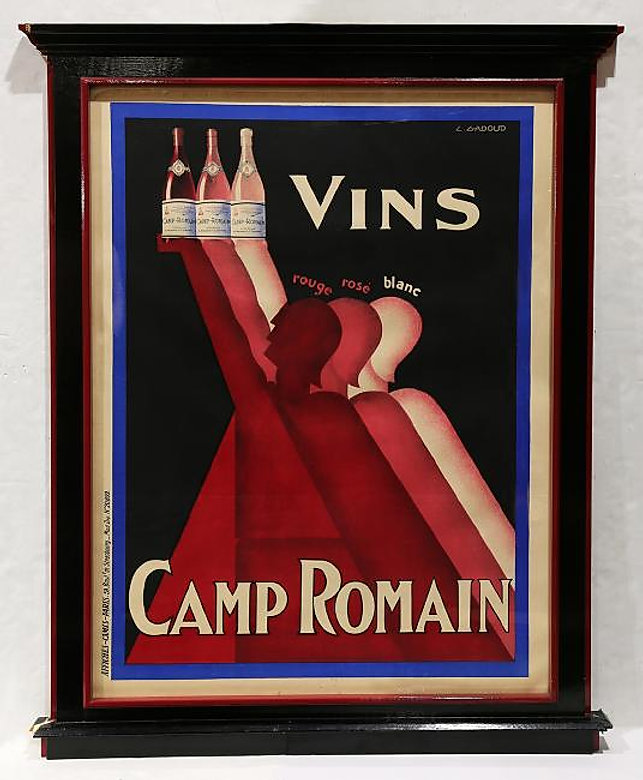 "Vins Camp Romain L. Gadoud plate signed upper right, printed by Affiches-Camis-Paris incredible framing overall 75""H x 59""W"