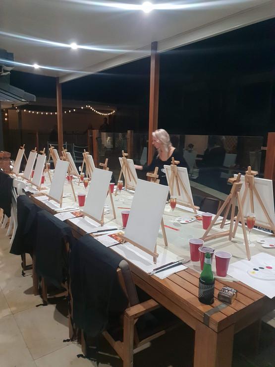 Paint & Sip Mobile set up