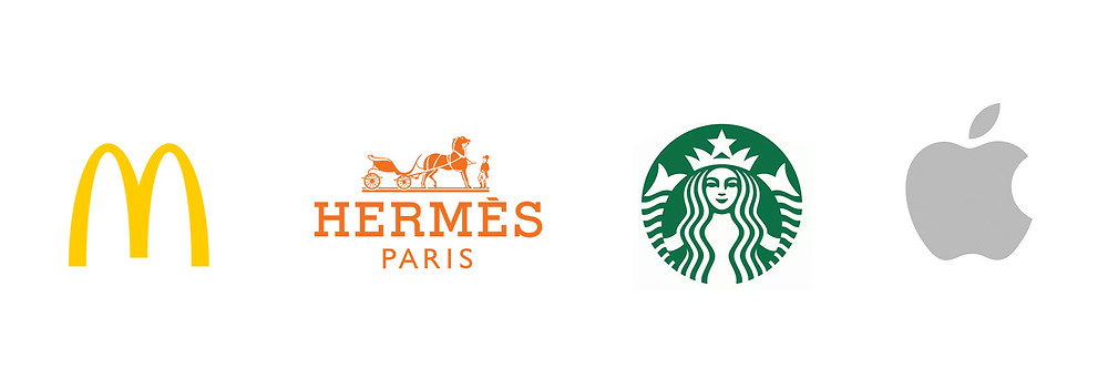 McDonalds, Hermes, Starbucks, Apple