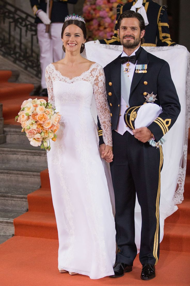 Sofia Hellqvist married Sweden's Prince Carl Philip this June in a long v-neckline dress designed for her by Swedish couturier Ida Sjöstedt