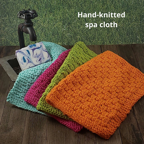 Hand-knitted spa cloth