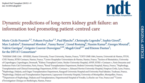 Publication dans Nephrology Dialysis and Transplantation