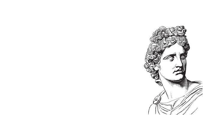 Line drawing of a classic greek bust of a young man.