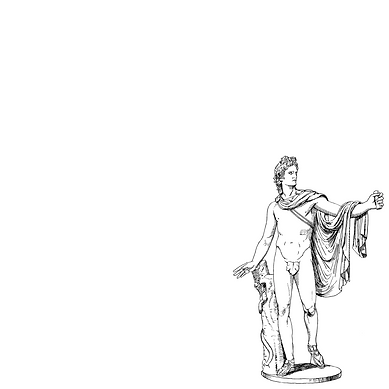 A line drawing of a nude greek male sculpture.