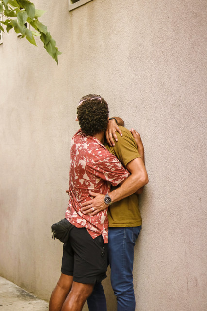 Gay Men Embracing On Cornelia Street