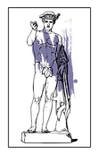 A drawing of Greek God Hermes with a purple splatter behind him