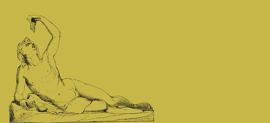 Line drawing of a sculpture of a person laying on a rock and eating grapes.