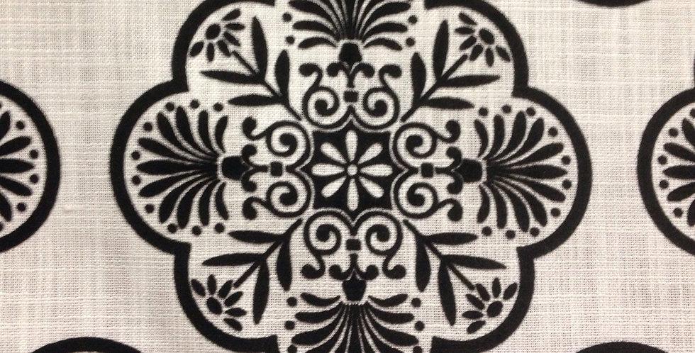 Black and White Linen Medallion