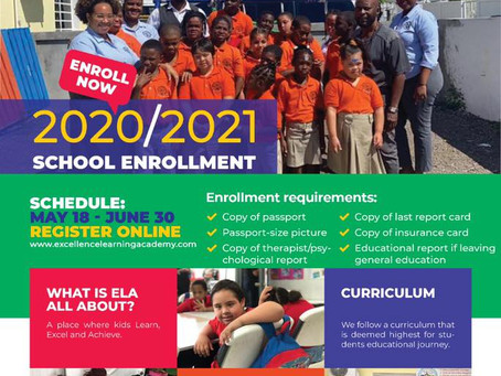 Enrollment open for the 2020/2021 School year