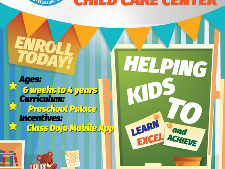 Enroll now for Day Care @ ELA's Child Care Center