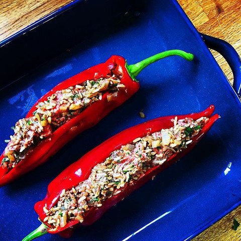 peppers stuffed with spiced rice and lamb