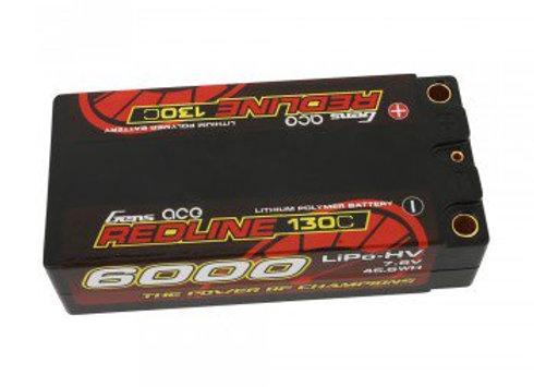 Gens ace Redline Series 6000mAh 7.6V 130C 2S2P HardCase HV Shorty Lipo Batt