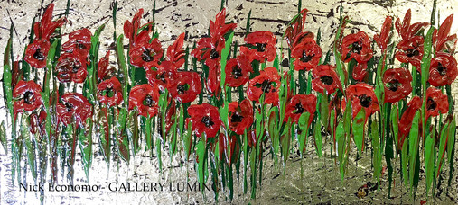 """Red Poppies on Silver"" sold"