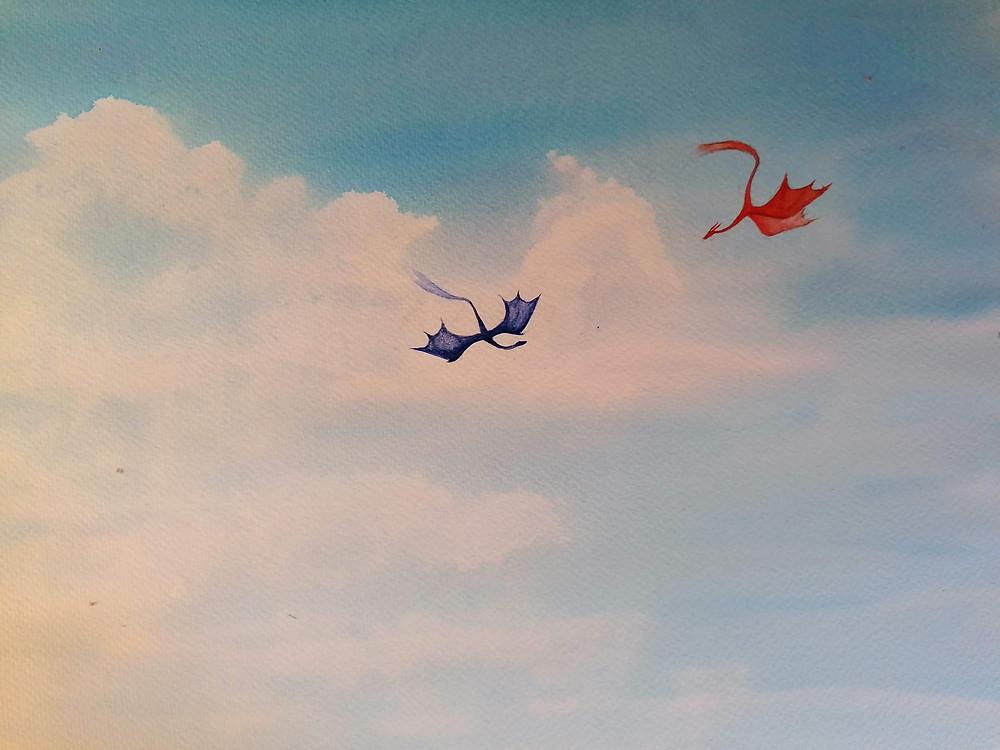 aquarelle dragons atelier creature conte Planète Indigo