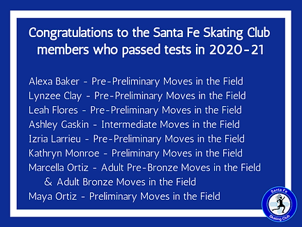 Congratulations to skaters who passed tests in 2020-21