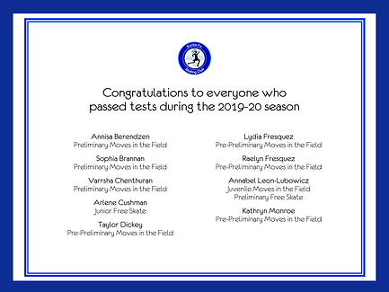 Congratulations to skaters who passed tests in 2019-20
