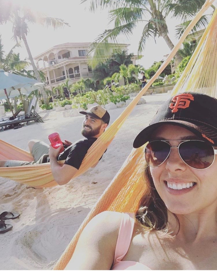 Laying in the hammock at Coco Beach Resort in Belize