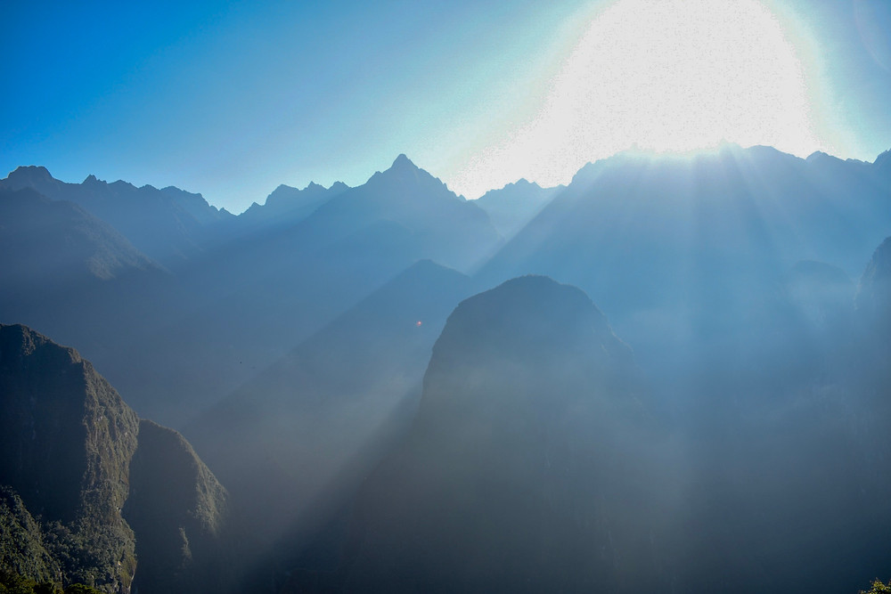 View of the mountain tops in the haze of Machu Picchu