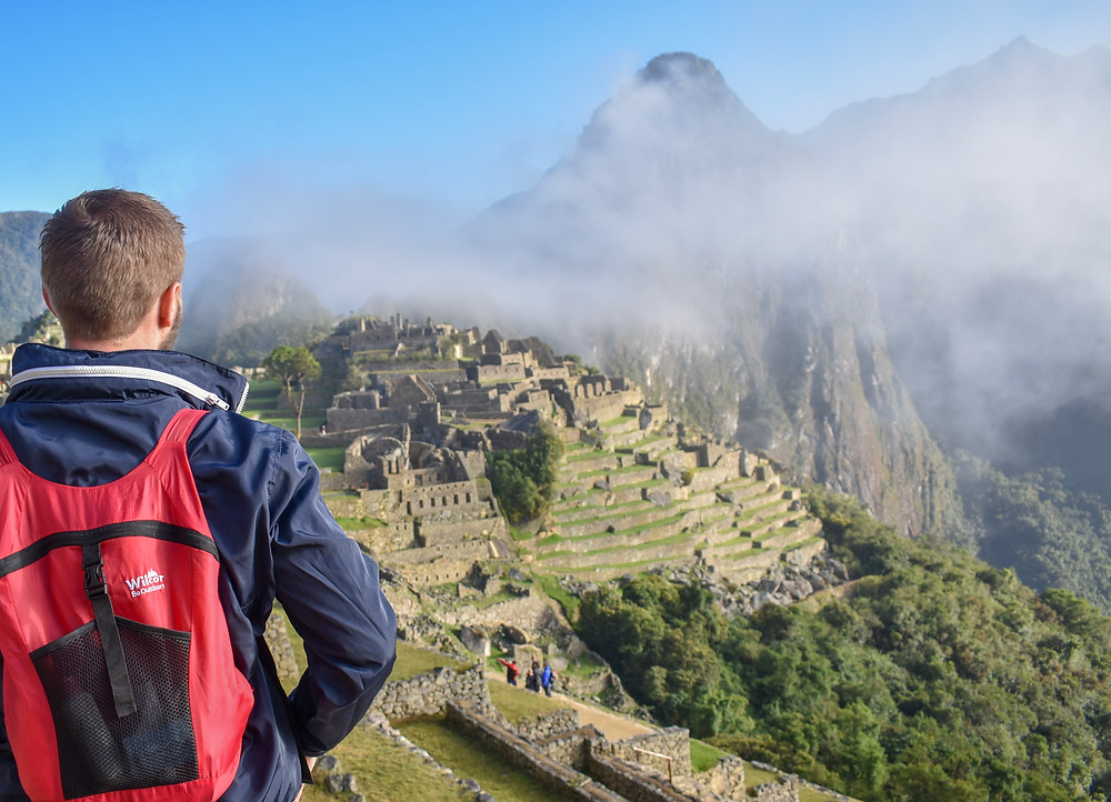 View of Wilcor Backpack overlooking Machu Picchu ruins in Peru