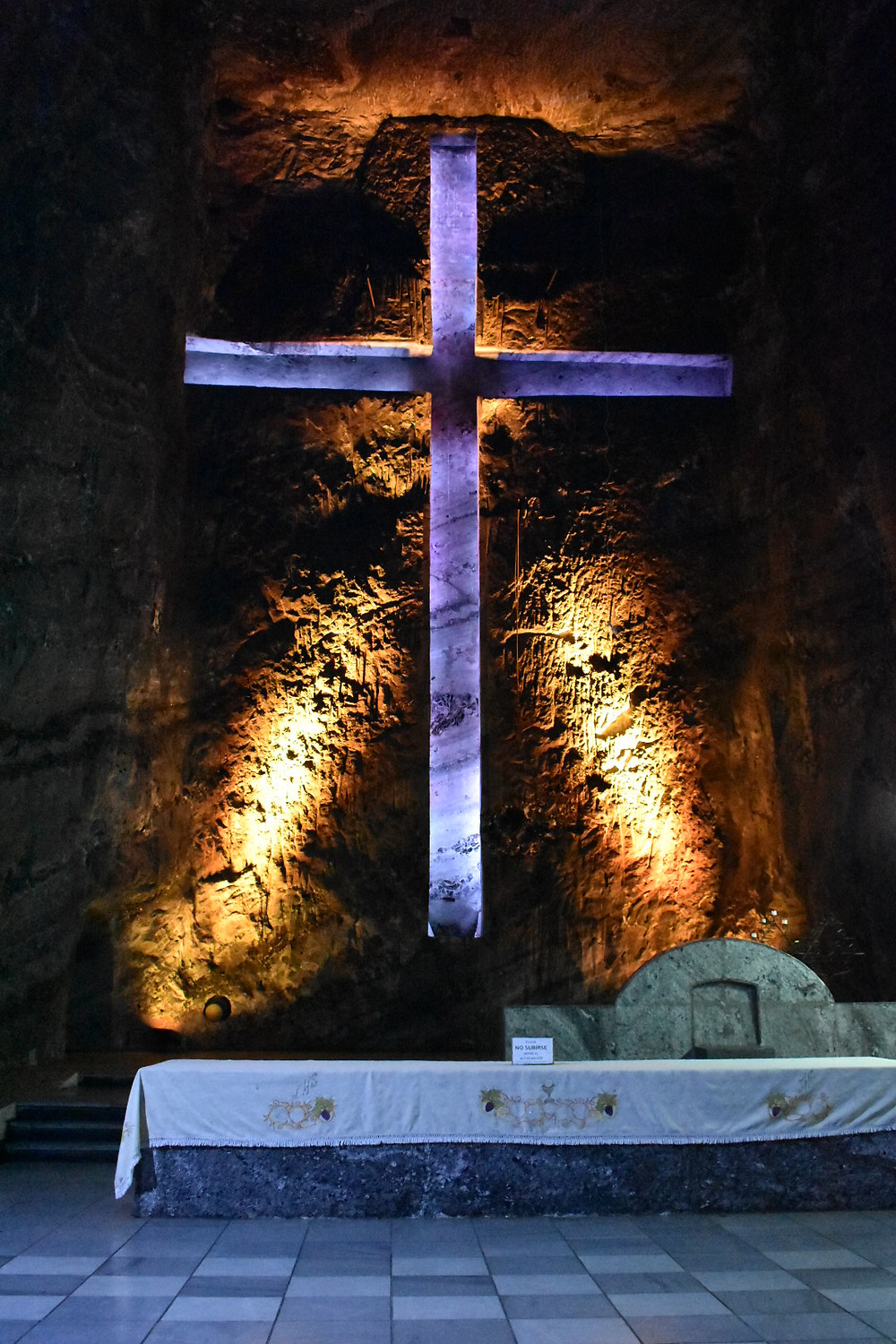 Beautiful cross in the salt mine located in Colombia