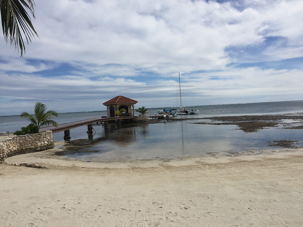 View of the beach from Coco Beach Resort in Belize