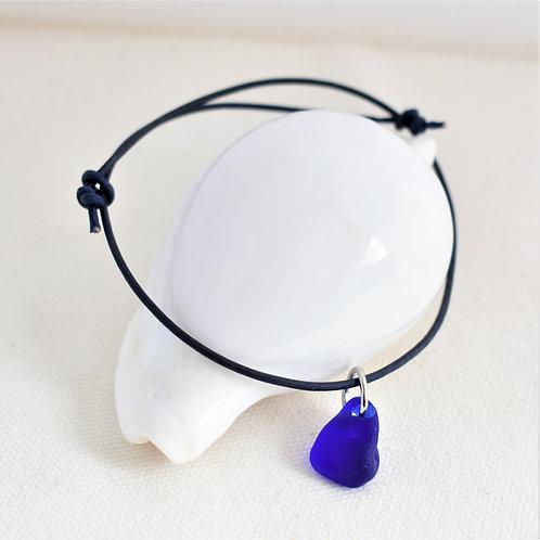 Cobalt blue art glass & leather anklet Davenport Glass from Santa Cruz, CA