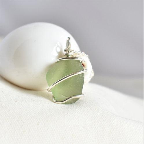 Citron Green Pendant Wrapped in Fine Silver: Unique Shape and Color