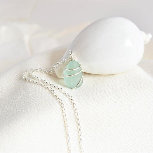 Light Pale Aqua Blue Beach Glass Pendant Wrapped in Fine Silver