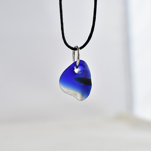 Small Blue, White and Black Glass Pendant & Adjustable Black Waxed Cotton Cord