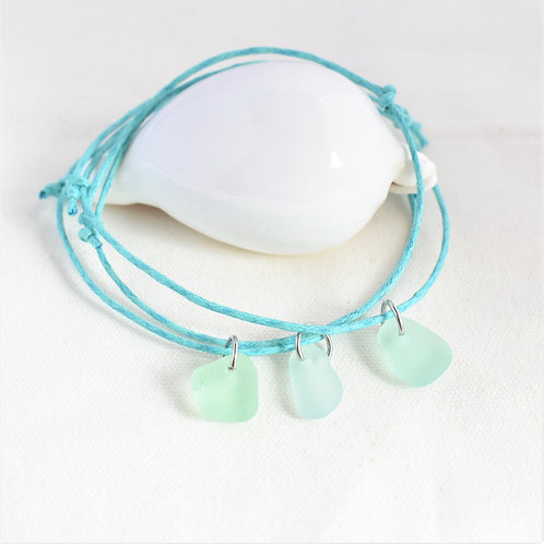 Anklet: Soft Seafoam Green Glass on Light Teal Waxed Cord: Adjustable