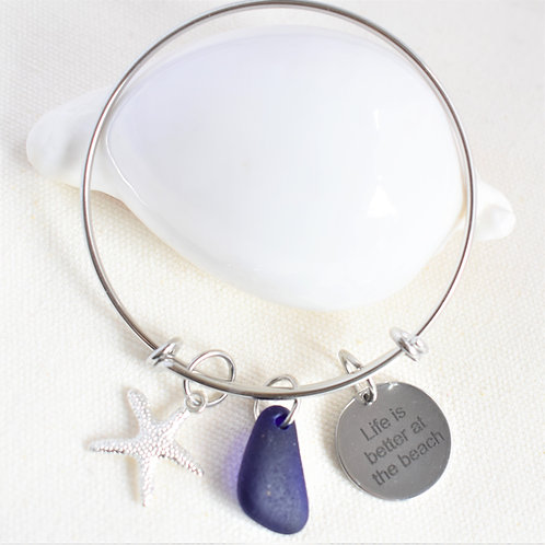 Stainless Steel Bangle: Cobalt Blue Glass with Starfish & Saying