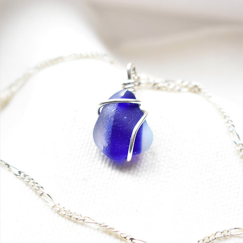 Multi Clear, Cobalt Blue and White Art Glass Wrapped in Fine Silver