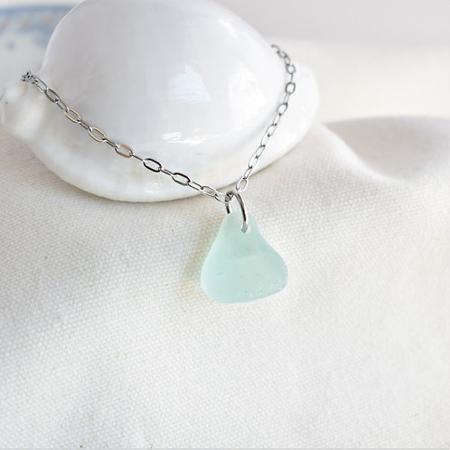 Pale Aqua Blue Beach Glass on Stainless Steel Chain