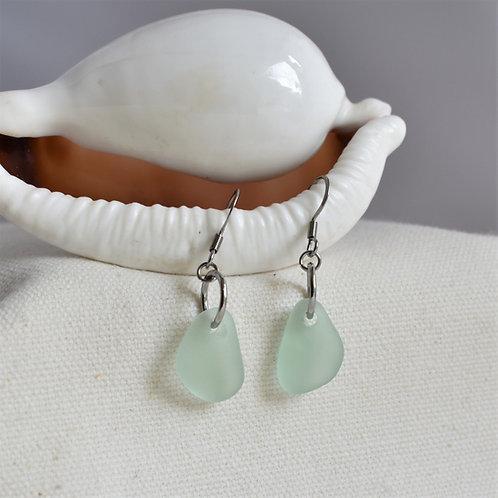 Delicate Seafoam Green Earrings on Stainless Steel Ear Wires