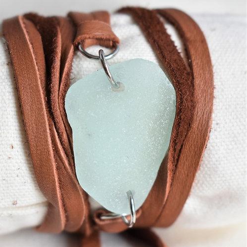 Large Pale Blue Beach Glass Wrap Around Bracelet on Deerskin